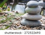 stone pyramid on the lake's... | Shutterstock . vector #272522693