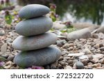 stone pyramid on the lake's... | Shutterstock . vector #272522720