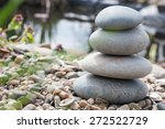 stone pyramid on the lake's... | Shutterstock . vector #272522729