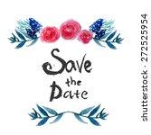 watercolor  floral frame design ... | Shutterstock . vector #272525954