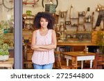beautiful young cafe owner...   Shutterstock . vector #272544800