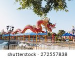 symbol  red dragon statue in... | Shutterstock . vector #272557838