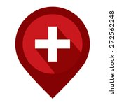 red map pointer icon with cross ... | Shutterstock . vector #272562248