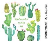 watercolor cactus set | Shutterstock .eps vector #272568353
