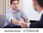 two business men shaking hands | Shutterstock . vector #272584148