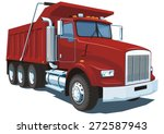 Vector Isolated Red Dump Truck...