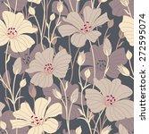retro flowers on a dark...   Shutterstock .eps vector #272595074