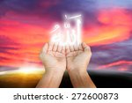 hands of man praying to allah... | Shutterstock . vector #272600873