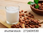 Almond Milk With Almond On A...