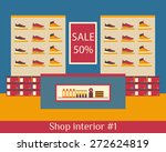 interior of shop of shoes. flat ...   Shutterstock .eps vector #272624819