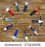 group of people circle holding... | Shutterstock . vector #272626508