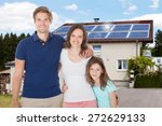 family standing in front house... | Shutterstock . vector #272629133