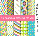 set of 10 seamless bright fun... | Shutterstock .eps vector #272629364