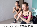 two girls doing squats together ... | Shutterstock . vector #272645834