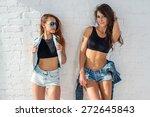 two pretty happy female friends ... | Shutterstock . vector #272645843