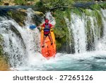 croatia kayaker over a waterfall | Shutterstock . vector #27265126