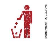 Red Grunge Throw Garbage Logo...