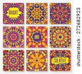 set of cards with kaleidoscope...   Shutterstock .eps vector #272682923
