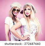 two beautiful young blonde... | Shutterstock . vector #272687660