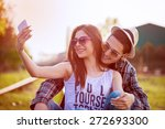 selfie with smartphone  happy... | Shutterstock . vector #272693300