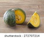 Japanese Pumpkin On Wooden Board