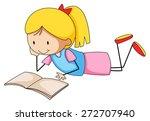 close up girl reading a book... | Shutterstock .eps vector #272707940