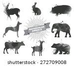 set of watercolor animals.black ... | Shutterstock .eps vector #272709008