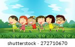children running through a park | Shutterstock .eps vector #272710670