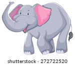 smiling elephant with trunk up  | Shutterstock .eps vector #272722520