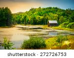 A Small  Wooden Cabin Near The...