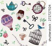 teatime  tea pot  tea cup ... | Shutterstock .eps vector #272727524