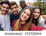 multiracial group of friends... | Shutterstock . vector #272728544