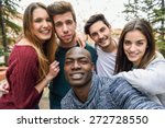 multiracial group of friends... | Shutterstock . vector #272728550