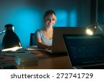 beautiful woman working as... | Shutterstock . vector #272741729
