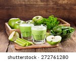 glasses of green juice with... | Shutterstock . vector #272761280