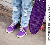 teenager in blue jeans and... | Shutterstock . vector #272784614
