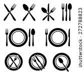 cutlery restaurant icons set | Shutterstock .eps vector #272788823