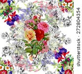 Garden Watercolor Floral With...