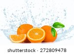 Oranges With Water Splashes...