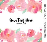 Watercolor Flower Vector Border