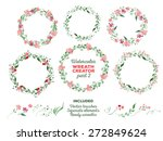 vector watercolor wreaths and... | Shutterstock .eps vector #272849624