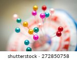 many sewing push pins on paper... | Shutterstock . vector #272850758