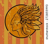 Emblema Indian On Grunge Style