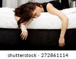 Drunk Woman Sleeping On Bed...