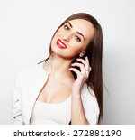 pretty young woman using mobile ... | Shutterstock . vector #272881190