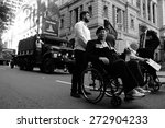 Small photo of BRISBANE, AUSTRALIA - APRIL 25 : Veterans march along the route during Anzac day centenary commemorations April 25, 2015 in Brisbane, Australia