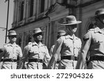 Small photo of BRISBANE, AUSTRALIA - APRIL 25 : Soldiers march along the route during Anzac day centenary commemorations April 25, 2015 in Brisbane, Australia