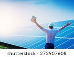 happy working solar station... | Shutterstock . vector #272907608