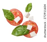 red tomatoes  mozzarella and... | Shutterstock . vector #272911604