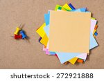 colorful memo pads on the cork...   Shutterstock . vector #272921888